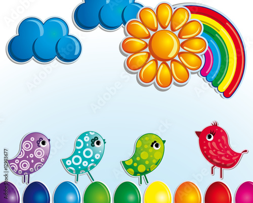 Poster Oiseaux, Abeilles Sunny Easter holiday