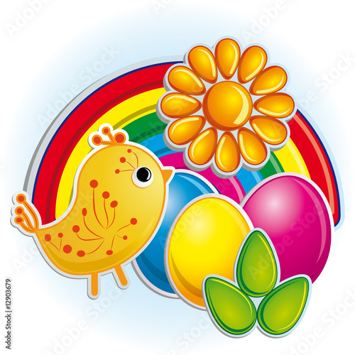 Poster Oiseaux, Abeilles Cute little chicken with the bright easter eggs
