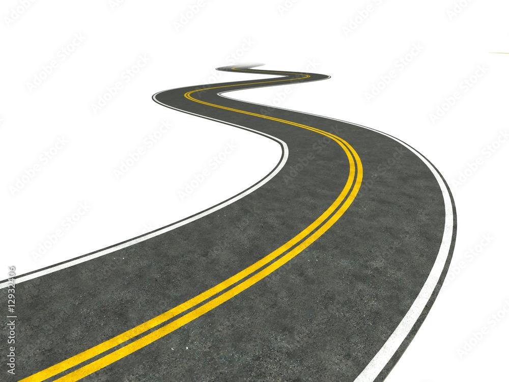 Fototapeta Long winding road illustration