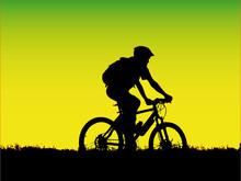 Vector - Mountain Biker Girl Silhouette
