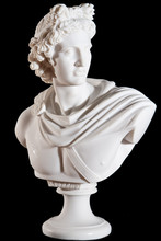 Classical Marble White Apollo Bust Isolated On Black Background