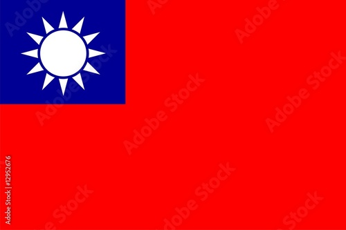Fotografía  Flag of Taiwan. Illustration over white background