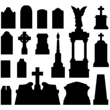 Grave And Tombstones With Stat...