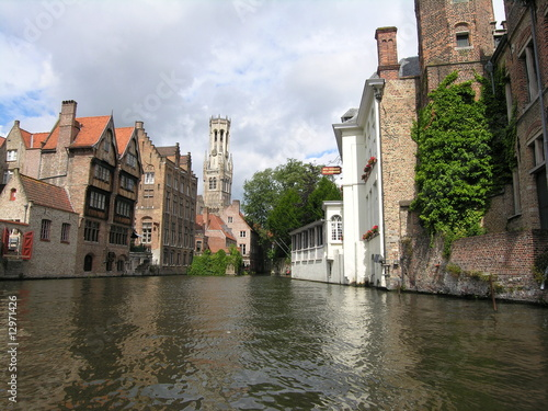 Wall Murals Bridges old historical Brugge buildings from a boat