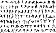 Set Of Vector Silhouettes Of P...