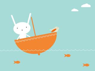 FototapetaCute bunny sailing over the sea in umbrella