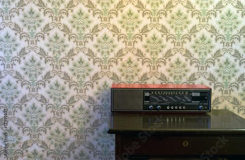Photo  Retro Tapete und Radio