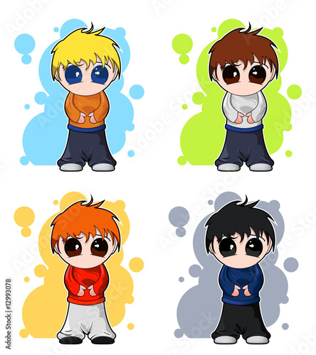 In de dag Regenboog set of cute chibi boys with background