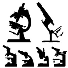 Microscopes In Detailed Vector...