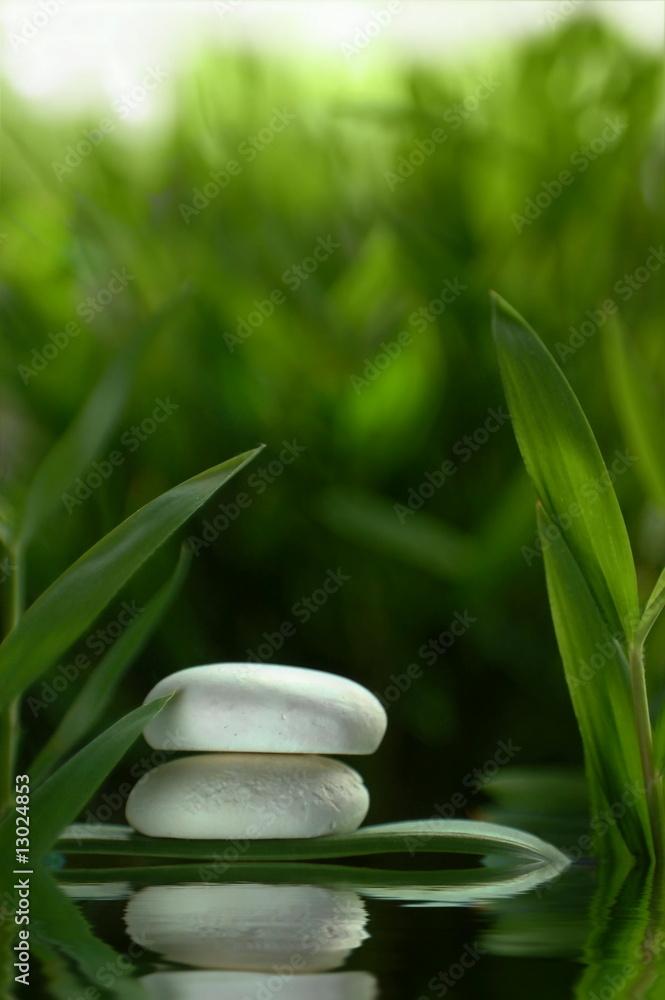 Doppelrollo mit Motiv - Steine im Wasser