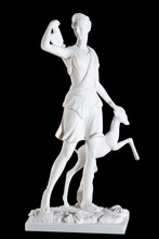 Classic White Marble Statuette Diana Of Versailles Isolated