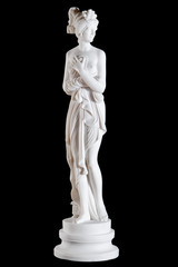 Classic white marble statue of a woman isolated on black