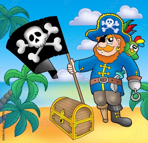 Ingelijste posters Piraten Pirate with flag on beach