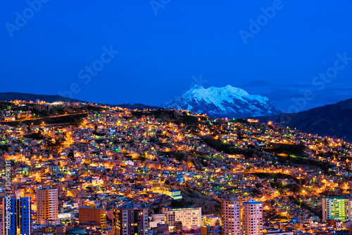 Poster Amérique du Sud Panorama of night La Paz, Bolivia