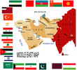 Middle East map with various flag