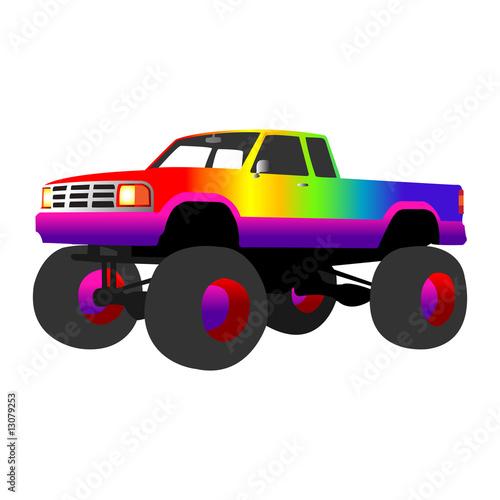 Deurstickers Cartoon cars rainbow monster truck