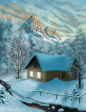 Winter Mountains And Chalet