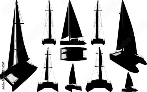 Canvas Print Catamaran Boat Silhouettes Vector
