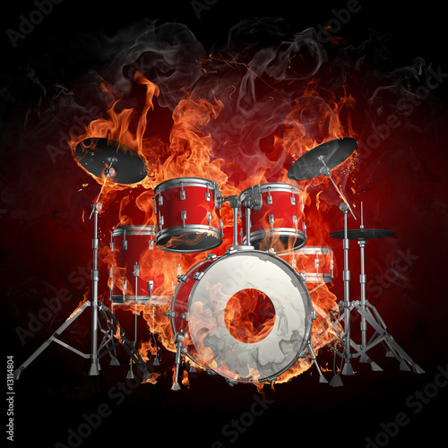 Canvas Prints Flame Drums in fire