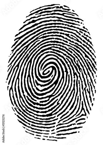 Fotografia thumbprint over white