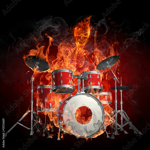 Photo sur Aluminium Flamme Drummer