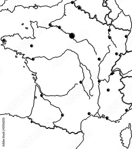 carte de france vierge avec fleuves carte de France, mers, villes, fleuves, frontières   Buy this