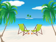 Tropical Beach with Chairs and drinks
