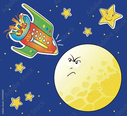 Garden Poster Cosmos Astronave e luna