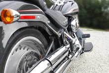 Back Of Motorcycle On Gravel R...
