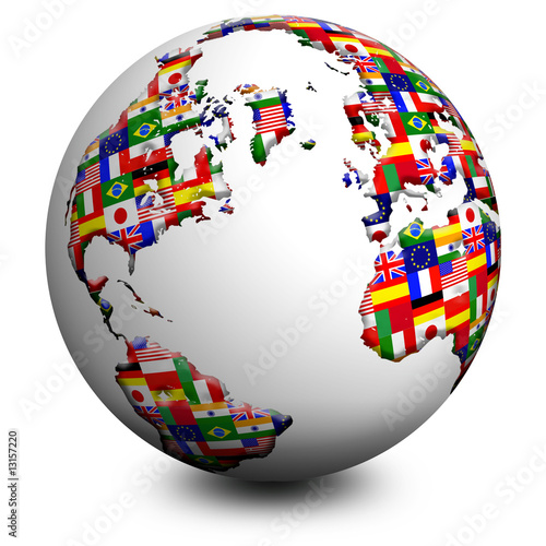 Door stickers Draw Globo Bandiere-Flags Globe-Globe Drapeau 2