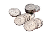 Stack Of Quarters, Isolated
