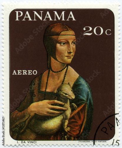 Photo  Panama. Timbre. La dame à l'hermine. Léonard de Vinci.