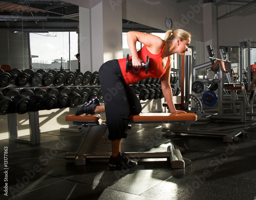 female bodybuilder working out I