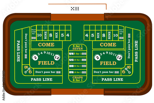 фотография A craps table with odds bets