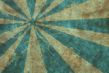 Aged Paper With Abstract Blue Starburst And Floral Pattern
