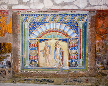 Herculaneum, Neptune And Amphitrite, Wall Mosaic In House Number