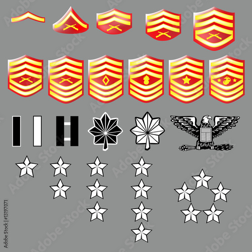 Photo  Marine Corps rank insignia for officers and enlisted - texture