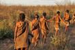 canvas print picture - bushmen in the kalahari desert