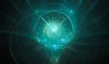 Wispy Blueish Green Fractal Swirling Spirit Head