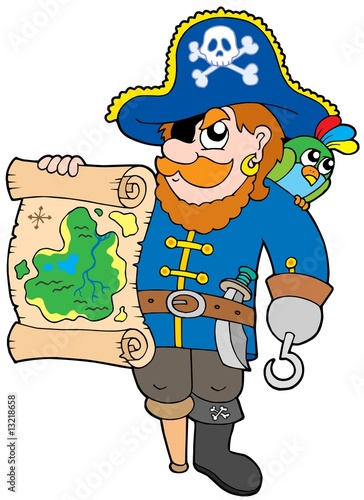 Spoed Fotobehang Piraten Pirate with treasure map
