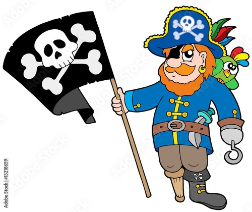Ingelijste posters Piraten Pirate with flag