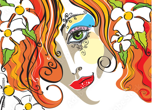 Floral femme Vector portrait of the young woman with red hair