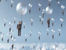 Businessman Flying On Balloon