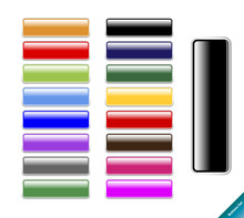 Collection Of Multi Colored Glossy Internet Buttons.