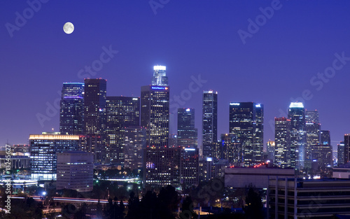 Poster Los Angeles Los Angeles skyline under the moonlight