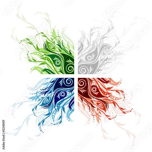 Photo sur Toile Papillons dans Grunge Vector floral background illustration