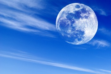 full moon of high quality in the morning sky