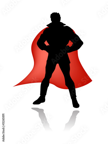 Door stickers Superheroes super hero silhouette vector