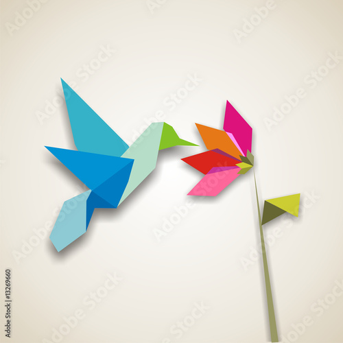 Door stickers Geometric animals Origami hummingbird