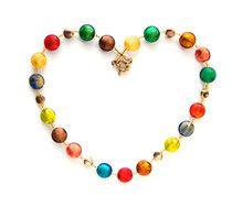 Colorful Glass Beads Shaped As Heart